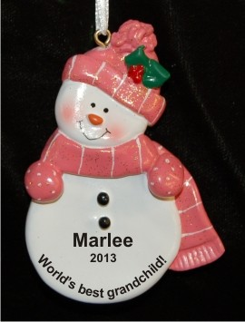Pink Snowman for Our Granddaughter Personalized Christmas Ornament