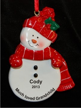 Red Snowman for Our Grandchild Christmas Ornament