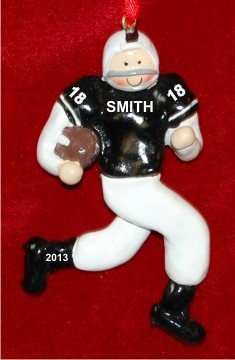Football Male Black Shirt White Pants Christmas Ornament Personalized by Russell Rhodes