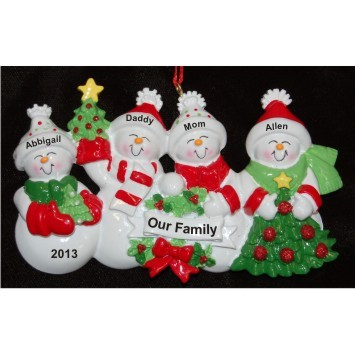 Snow Family with Tree for 4 Christmas Ornament Personalized by Russell Rhodes