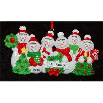 Snow Family with Tree for 6 Christmas Ornament Personalized by Russell Rhodes