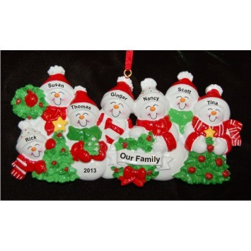 Snow Family with Tree for 7 Christmas Ornament Personalized by Russell Rhodes
