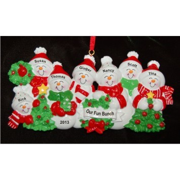 My Xmas Fun Bunch 7 Grandkids Christmas Ornament Personalized by Russell Rhodes