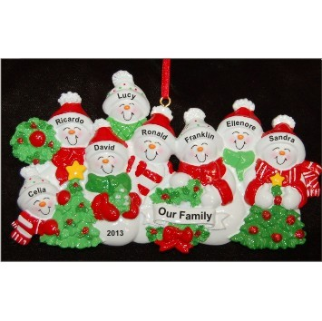 Snow Family with Tree for 8 Christmas Ornament Personalized by Russell Rhodes