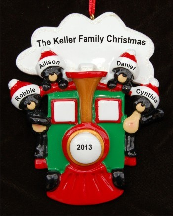 All Aboard for Family of 4 Personalized Christmas Ornament