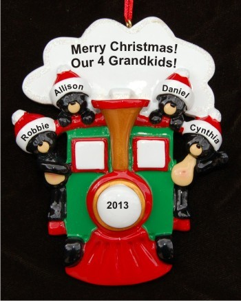 Polar Express: Our 4 Grandkids Christmas Ornament Personalized by Russell Rhodes