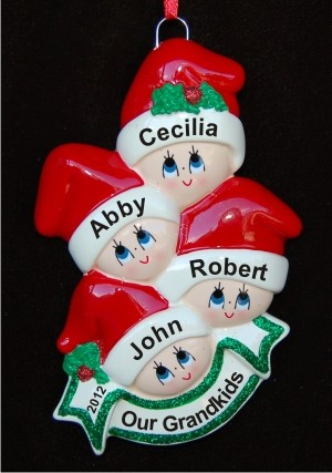 Stocking Caps Our 4 Grandkids Christmas Ornament Personalized by Russell Rhodes