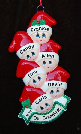 Stocking Caps Our 6 Grandkids Christmas Ornament Personalized by Russell Rhodes