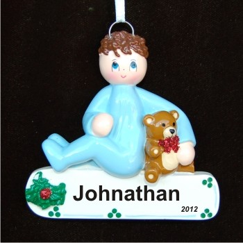 Brunette Boy Toddler Personalized Christmas Ornament