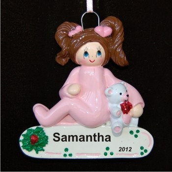 Brunette Girl Toddler Personalized Christmas Ornament