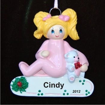 Blond Girl Toddler Personalized Christmas Ornament