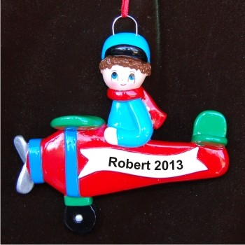 Airplane Boy | Hand Personalized Christmas Ornaments by Russell Rhodes