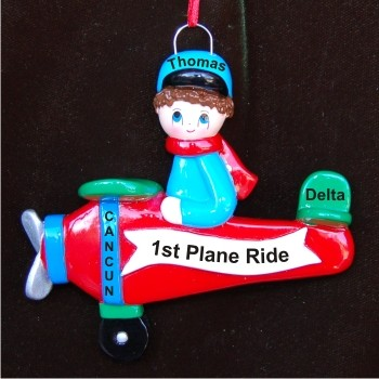 My First Airplane Trip Personalized Christmas Ornament