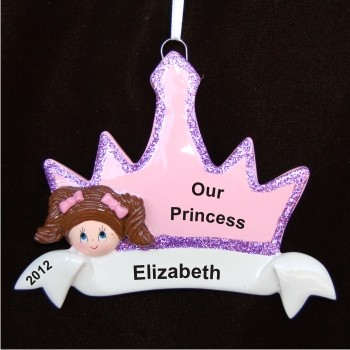 Brunette Girl Princess Crown Christmas Ornament