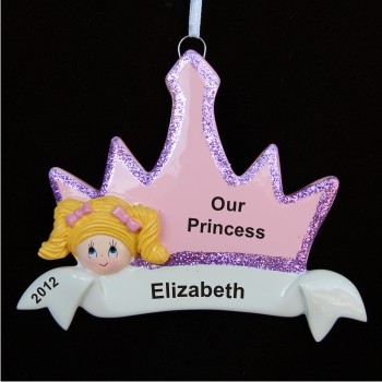 Blond Girl Princess Crown Personalized Christmas Ornament