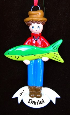 Gone Fishing Personalized Christmas Ornament