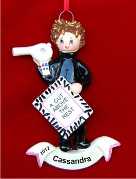 Hair Stylist Extraordinair Christmas Ornament Personalized by Russell Rhodes