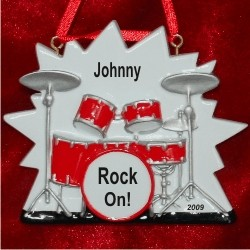 Rock Out Drum Set Christmas Ornament Personalized by Russell Rhodes