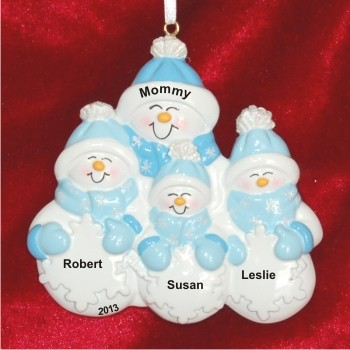 Single Parent 3 Children Family Christmas Ornament Personalized by Russell Rhodes