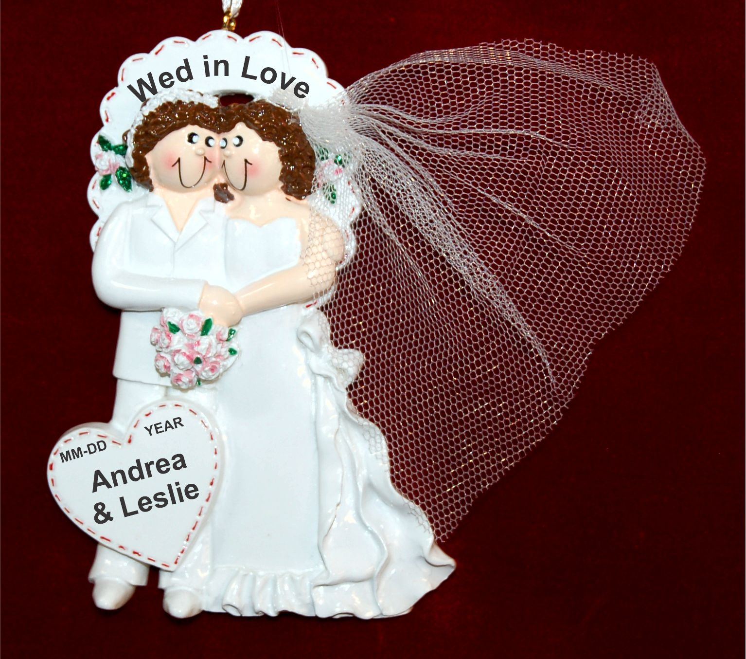 Lesbian Wedding Christmas Ornament Personalized FREE by Russell Rhodes