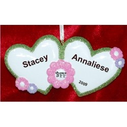 BFF Best Friends Hearts Christmas Ornament Personalized by Russell Rhodes