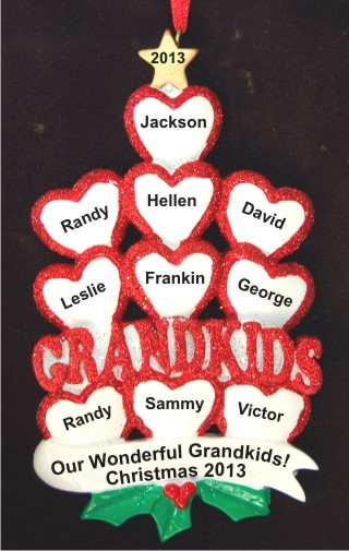 10 Grandkids - Loving Hearts at Christmas Christmas Ornament Personalized by Russell Rhodes