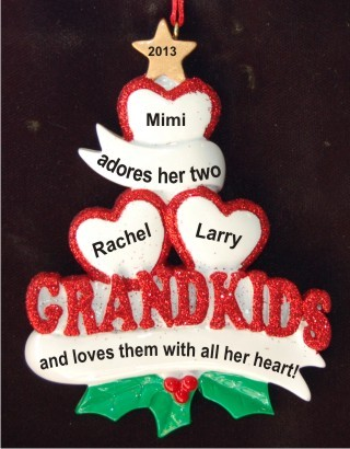 2 Grandkids - Loving Hearts with Grandma Christmas Ornament Personalized