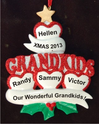 4 Grandkids - Loving Hearts at Christmas Christmas Ornament Personalized by Russell Rhodes