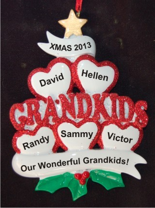 5 Grandkids - Loving Hearts at Christmas Christmas Ornament Personalized by Russell Rhodes