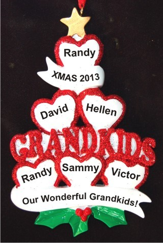 6 Grandkids - Loving Hearts at Christmas Christmas Ornament