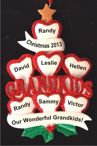 7 Grandkids - Loving Hearts at Christmas Christmas Ornament Personalized by Russell Rhodes