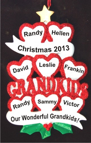 8 Grandkids - Loving Hearts at Christmas Christmas Ornament