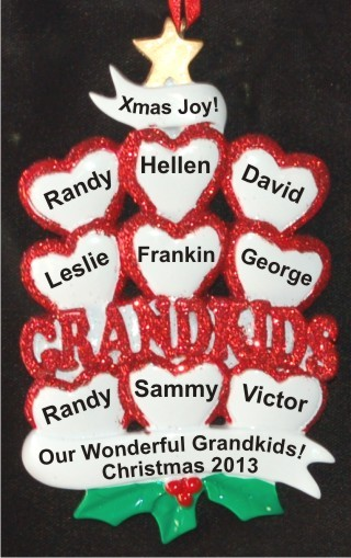 9 Grandkids - Loving Hearts at Christmas Christmas Ornament