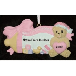 Baby's 1st Bottle 'N Blocks Pink Christmas Ornament Personalized by Russell Rhodes