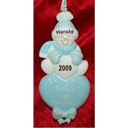 Lots of Love, Baby's First Christmas Blue Personalized Christmas Ornament
