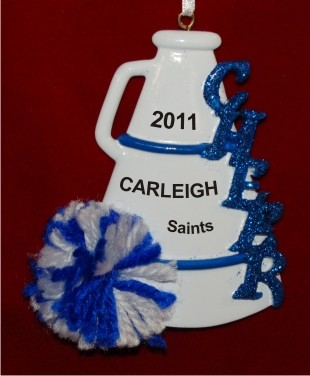 Blue Pom Cheerleader Personalized Christmas Ornament