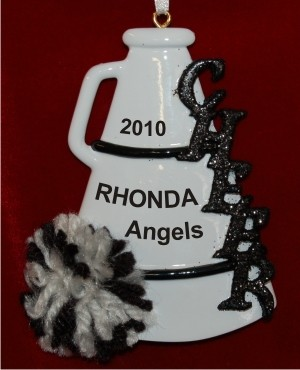 Black Pom Cheerleader Christmas Ornament Personalized by Russell Rhodes