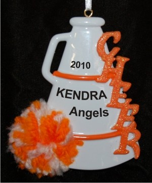 Orange Pom Cheerleader Christmas Ornament