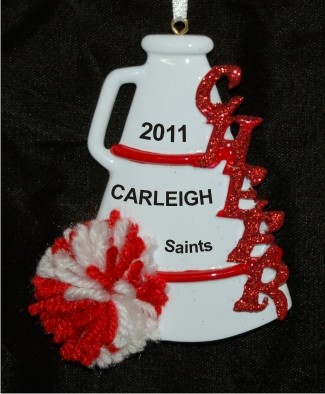 Red Pom Cheerleader Personalized Christmas Ornament