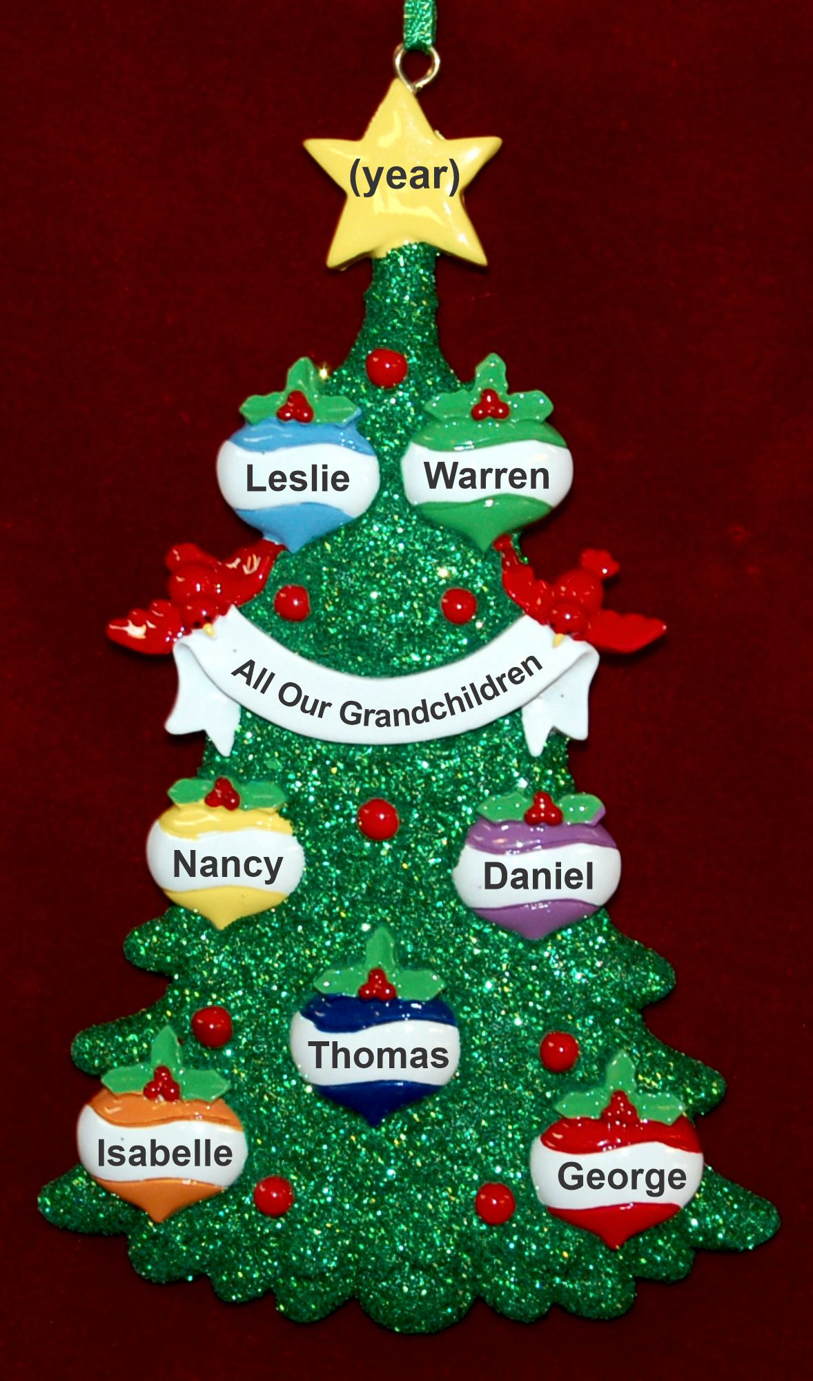 Personalized Grandkids Christmas ornament Xmas Tree for 7 Personalized FREE by Russell Rhodes