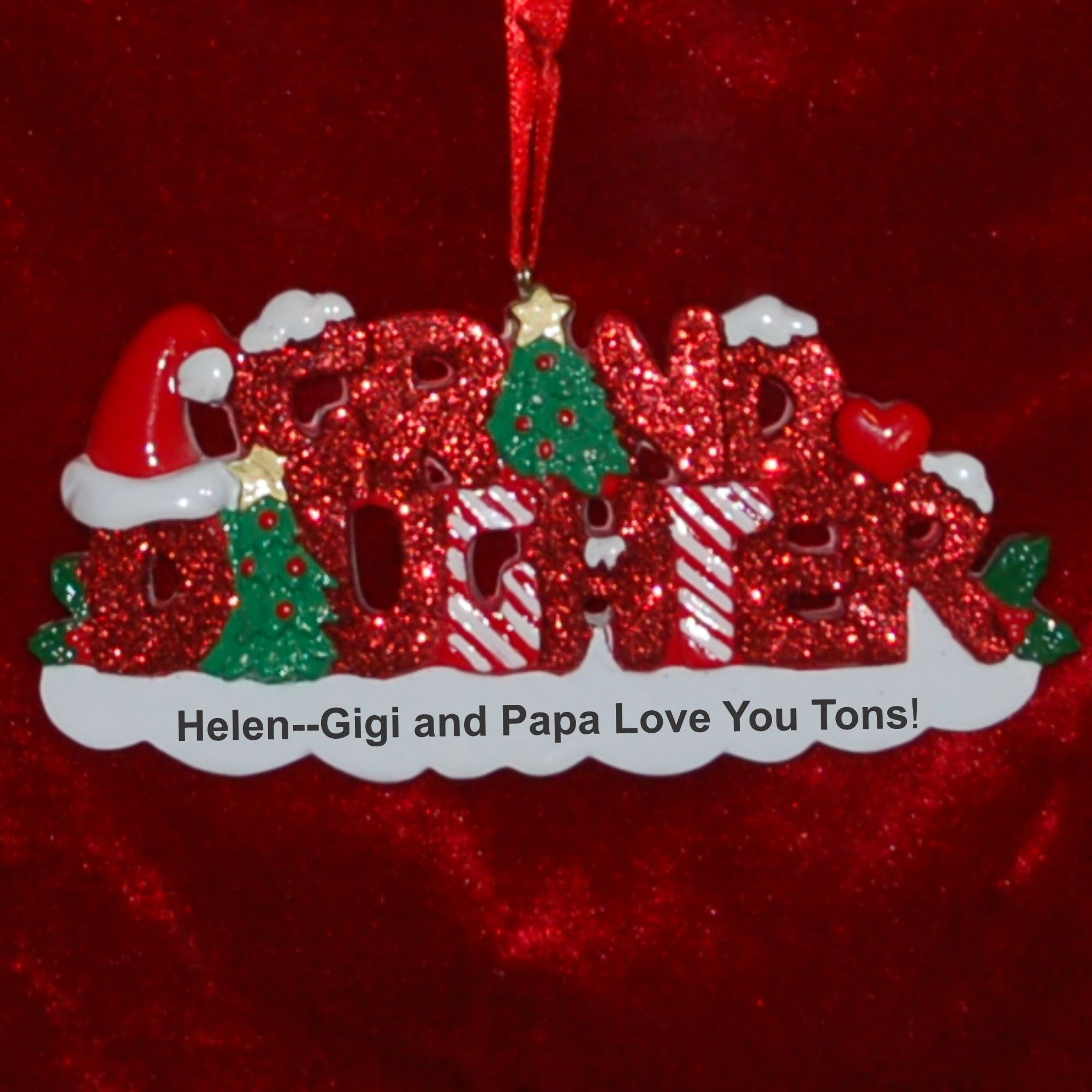 Personalized Glittered Granddaughter Christmas Ornament by Russell Rhodes