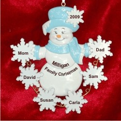 Frosty Fun Snowflakes Family of 6 Personalized Christmas Ornament