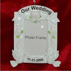 Our Wonderful Wedding Frame Personalized Christmas Ornament