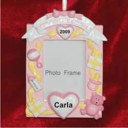 Baby's 1st Christmas Loving Hearts Photo Frame, Pink Personalized Christmas Ornament