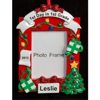 1st Grade Picture Frame Christmas Ornament Personalized by Russell Rhodes