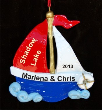 I love to Sail for Couple Personalized Christmas Ornament