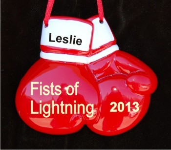 Girls Boxing Gloves Personalized Christmas Ornament