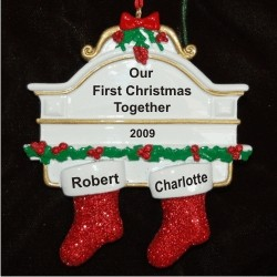 Stockings Hung with Care, Couple Christmas Ornament Personalized by Russell Rhodes