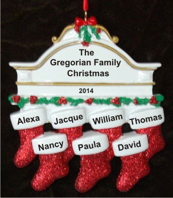 Stockings Hung with Care Family of 7 Christmas Ornament Personalized by Russell Rhodes