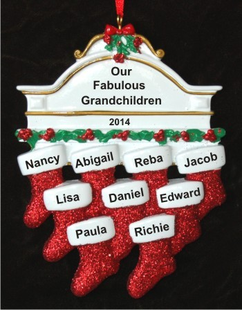 Stockings Hung with Care 9 Grandchildren Christmas Ornament Personalized by Russell Rhodes